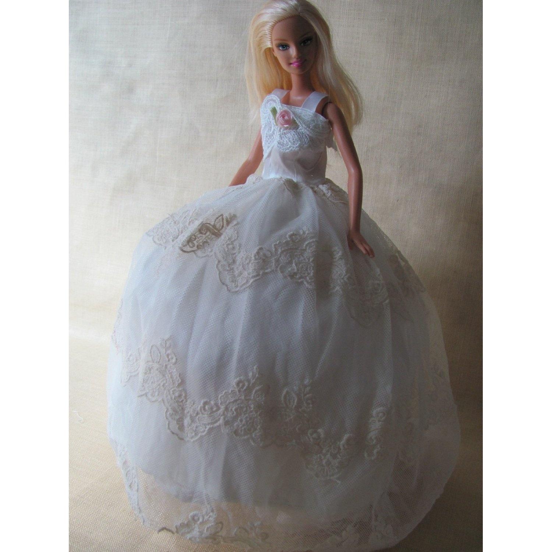 Barbie-Doll-Clothes-Dress-1-White-Doll-Dress-Fit-29cm-Barbie-Dolls-zfinding