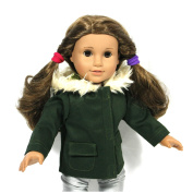 46cm Doll Clothes/clothing Fits American Girl - GREEN Hooded Doll Jacket