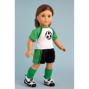 Soccer Girl - 4 piece soccer outfit includes, shirt, shorts, socks and shoes. Fits 46cm American Girl dolls.