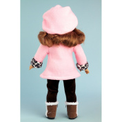 Elegance - Pink fleece coat, matching hat, brown pants and sherpa boots. Fits 46cm American Girl dolls.