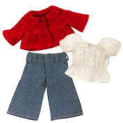 46cm Doll Jacket 3 Piece Set fits American Girl Dolls - Includes Red Button Jacket, Doll Denim Jeans & Blouse