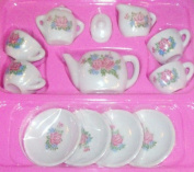 13 PC. Mini Ceramic Tea Set, Kids Pretend Play