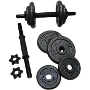 Adjustable Dumbbell Set 18kg with Strength Flat Weight Bench