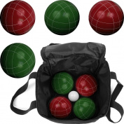 Bocce Ball Set- Regulation Outdoor Family Bocce Game for Backyard, Lawn, Beach and More- Red and Green Balls, Pallino, and Carrying Case by Hey! Play!