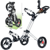 CaddyTek CaddyLite ONE - 1-Click Folding Golf Push Cart, Silver
