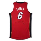 NBA - LeBron James Miami Heat Autographed Authentic Reebok Red Alternate Jersey