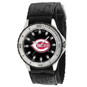 Game Time Men's MLB Cincinnati Reds Veteran Series Watch, Black hook and loop Strap