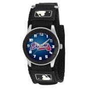 Game Time Kids' MLB Atlanta Braves Rookie Series Watch, Black hook and loop Strap