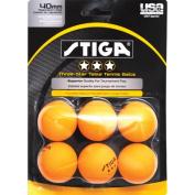 Stiga Three-Star Orange Table Tennis Ball, 6 pack