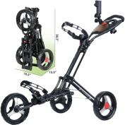 CaddyTek CaddyLite ONE - 1-Click Folding Golf Push Cart, Black