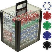 Trademark Poker 1000 11.5 Gramme Dice-Striped Poker Chips in Clear Acrylic Carrier