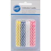 Birthday Candles 6.4cm 24/Pkg-Assorted Striped Spirals