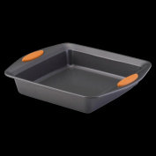 Rachael Ray 54074 Bakeware Oven Lovin Square 9-Inch by 9-Inch Square Cake Pan Gray