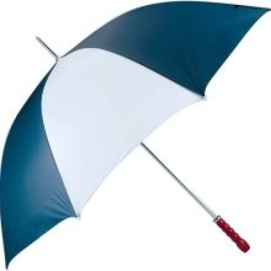 All Weather 60 Golf Umbrella with white and navy alternating panels metal shaft and woode GFUM60