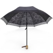 Black Rose Umbrella Parasol with Lace Trim, Two-section Folded Anti-uv