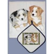 Pipsqueak Productions DP859 Dish Towel and Pot Holder Set - Australian Shepherd Pups