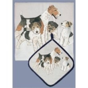 Pipsqueak Productions DP857 Dish Towel and Pot Holder Set - Fox Terrier Wire