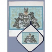 Pipsqueak Productions DP565 Dish Towel and Pot Holder Set - Schnauzer Family