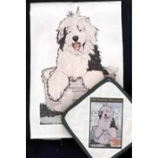 Pipsqueak Productions DP829 Dish Towel and Pot Holder Set - Old English Sheepdog