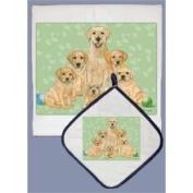 Pipsqueak Productions DP551 Dish Towel and Pot Holder Set - Labrador Yellow Family