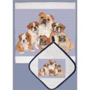 Pipsqueak Productions DP552 Dish Towel and Pot Holder Set - Bull Dog Family
