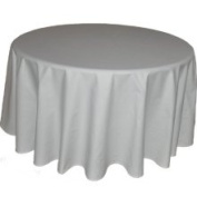 228.6cm White Round Tablecloth Heavy Woven Polyester - Commercial Grade