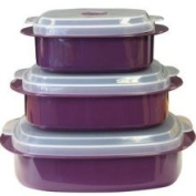 Reston Lloyd 20502 Calypso Basics 6 Piece Microwave Cookware-Storage Set - Plum