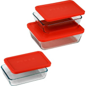 Pyrex 6 Piece Bakeware/Cookware Set with Red Plastic Covers
