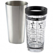 Outset 470ml Glass & Stainless Steel Boston Shaker with Recipes