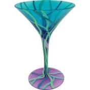 Stealstreet 17.8cm Beach Circles Motif 210ml Martini Style Cocktail Bar Glass