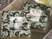 Black Damask Photo Coaster Wedding Favours