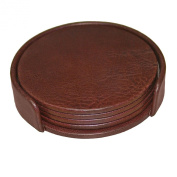 Dacasso A3045 Leather 4 Round Coaster Set with Holder