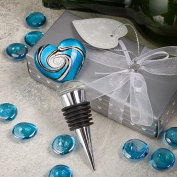Fashioncraft 2102 Blue Murano Heart Bottle Stopper Wine Wedding Favors