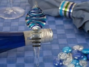 Murano Art Deco Blue and Silver Teardrop Design Bottle Stopper Favours