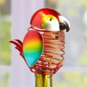 15.2cm Decorative Spring Wrought Iron Parrot Figurine Wine Bottle Stopper