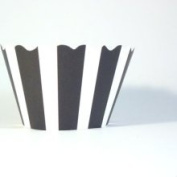 Bella Couture Audrey Stripes Cupcake Wrappers Black/White