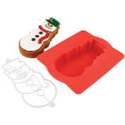 Chicago Metallic Holiday Snowman Silicone Cake Pan W/Stencil X70179