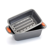 Rachael Ray 57655 2 Piece Meat Loaf Pan Silicone Grip Handles - Orange