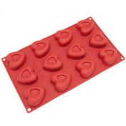 Freshware 12-Cavity Mini Heart Silicone Mould and Baking Pan Small