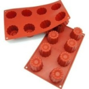 Freshware SL-107RD 8-Cavity Medium Silicone Mould for Caneles and Bordelais Fluted Cakes, Red