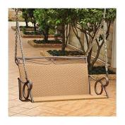 International Caravan Valencia Steel and Resin Wicker Porch Swing, 4100-DBL-HY, Seats 2, Brown