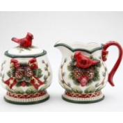 Stealstreet Elegant Evergreen Holiday Sugar Creamer w/ Red Cardinal Collectible