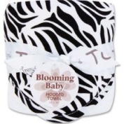 Trend Lab Zebra Bouquet Hooded Towel in Black and White