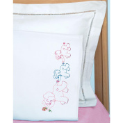 Jack Dempsey 1605 122 Childrens Stamped Pillowcase With White Perle Edge 1-Pkg-Elephant Train