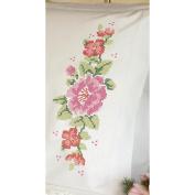 "Dimensions ""Pink Rose"" Pillowcase Pair Stamped Cross Stitch, 50cm x 80cm"