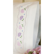 Dimensions Hydrangeas Pillowcase Pair Stamped Embroidery 50.8cm x76.2cm