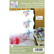 Tobin Stamped Pillowcase Pair Stamped Cross Stitch Kit for Embroidery, 50cm by 80cm , Bouquets