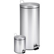 Honey-Can-Do Dual Pack Stainless Steel Step Trash Can- Silver