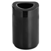 Open-Top Round Waste Receptacle, Steel, 30gal, Black