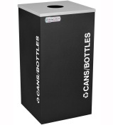 Ex-Cell Kaiser RC-KDSQ-C BLX 18-gal recycling recptacle- square top and Cans-Bottles decal- Black Texture finish